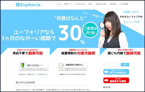 キャッシングのユーフォリア新ホームページ画像