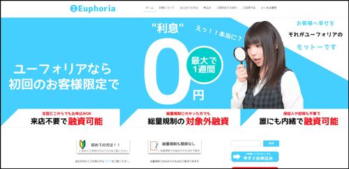 ソフト闇金ユーフォリアのウェブサイト画像