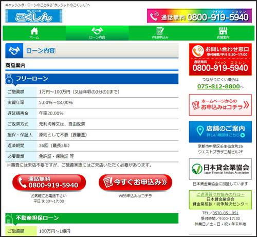 京都にある街金国信の融資条件