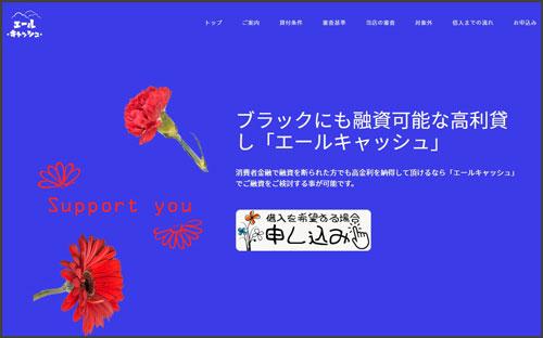 ソフト闇金エールキャッシュのホームページ画像